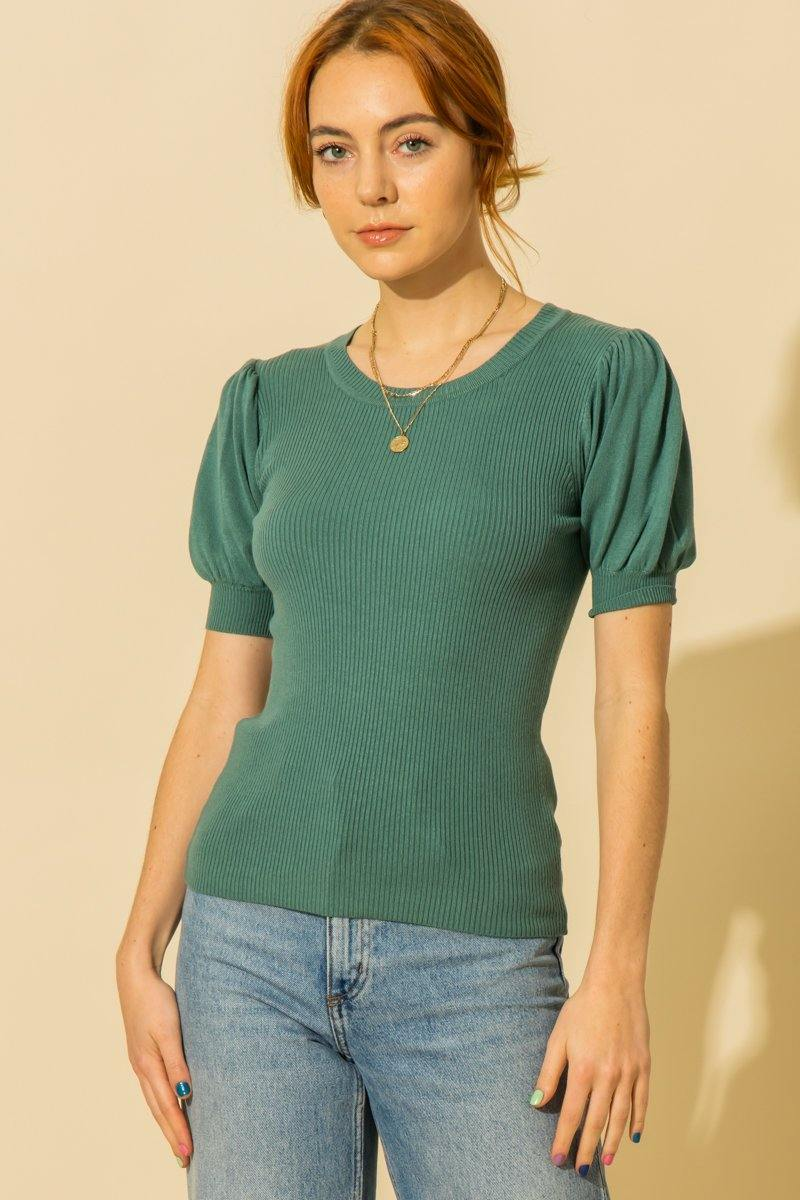 PUFF SHORT SLEEVE SWEATER TOP