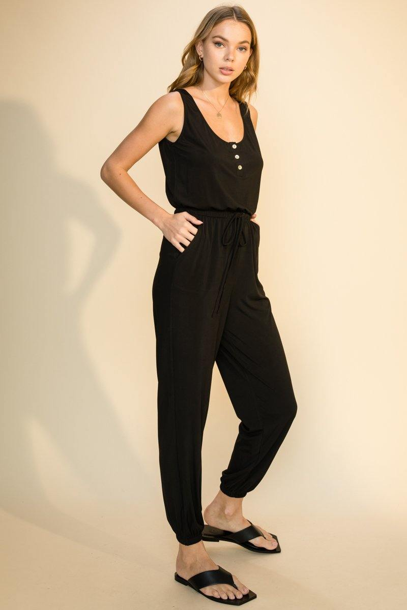 BUTTON DETAIL TANK DRAWSTRING WAIST JOGGER JUMPSUIT