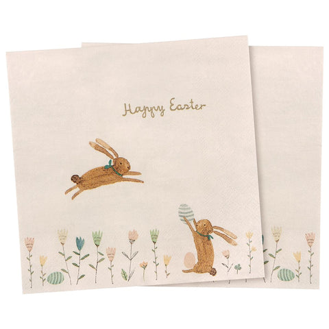 Maileg Servietter, HAPPY EASTER FIELD 16 stk (16,5 cm)