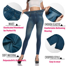 Women Slim Fashion Leggings Faux Denim Jeans Woman Fitness Pants Jeggings Leggings Printing Casual Pencil Pants Plus Size