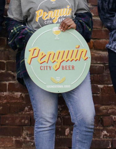 Penguin City Brewing Company Metal Aluminum Tin Tacker Sign awesome add to your brewery branding.