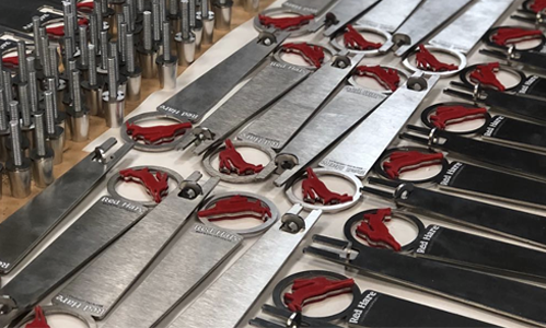 Red Hare Brewing American made tap handles using American sourced steel.
