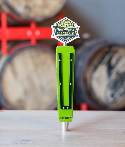Ft. Myers Brewing company wood and acrylic tap handle with painted topper and body. Fully custom tap handle made in the USA.
