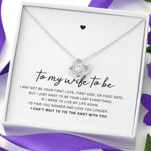 "14k White Gold ""Tie The Knot"" Luxury Necklace Gift Set"