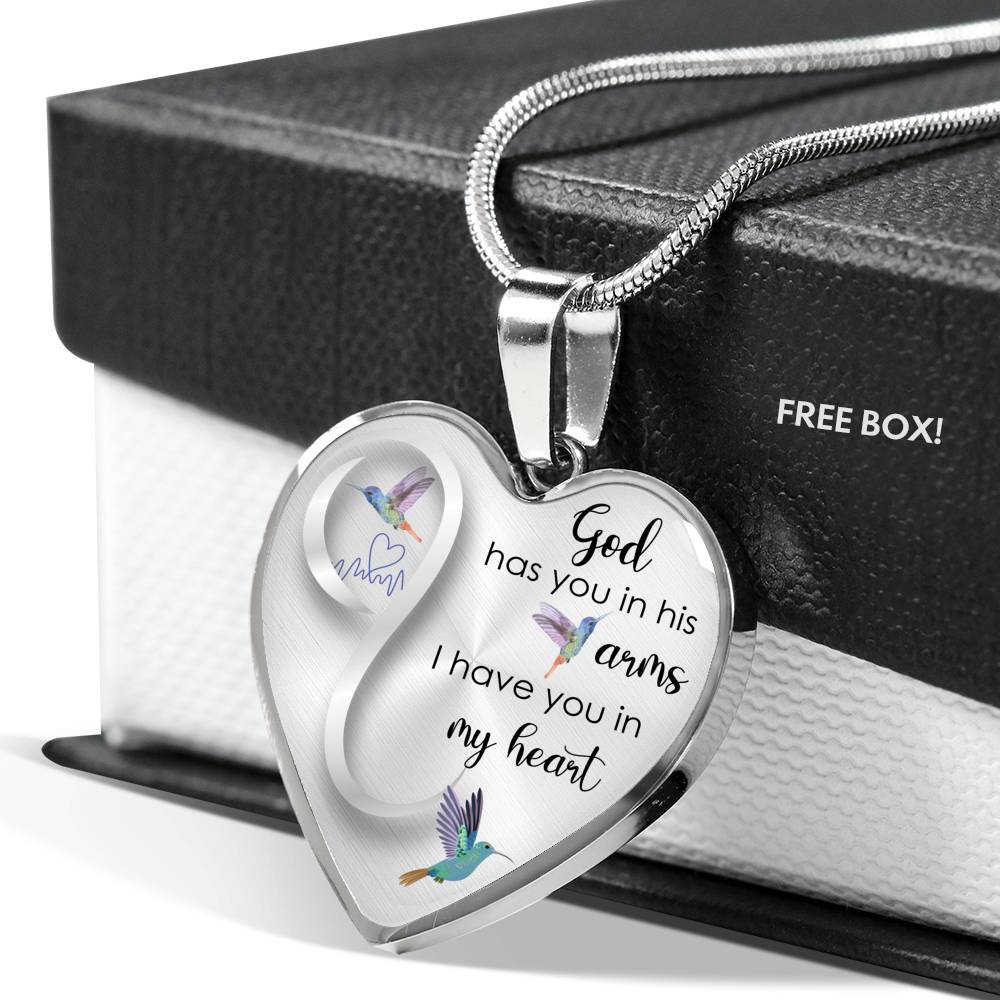 Customizable Hummingbird 'God Has You In His Arms' Luxury Necklace