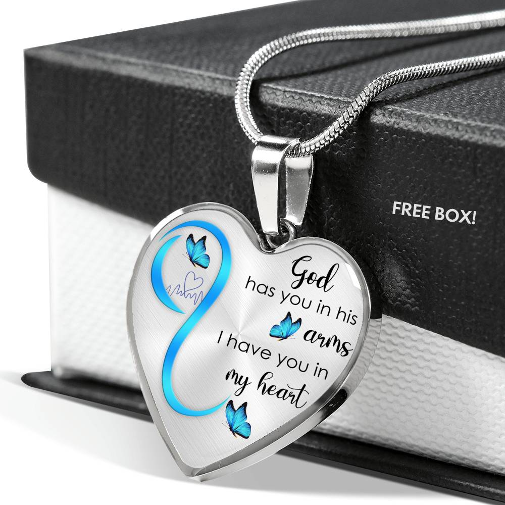Customizable Butterfly 'God Has You In His Arms' Luxury Necklace