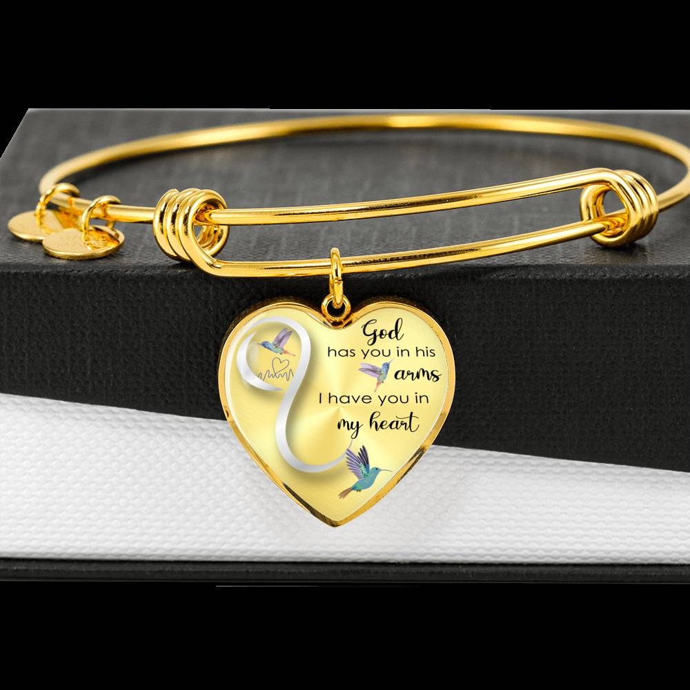 Customizable Hummingbird 'God Has You In His Arms' Luxury Bangle