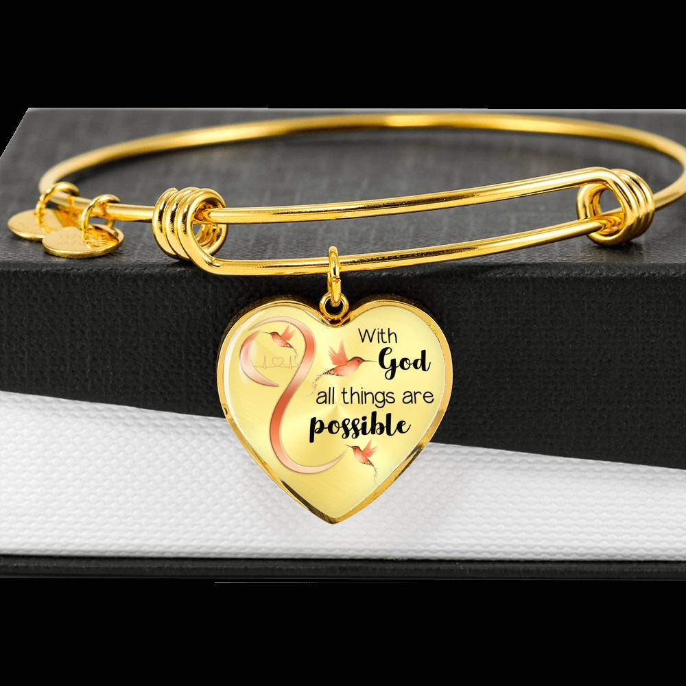 Customizable Hummingbird 'With God' Luxury Bangle