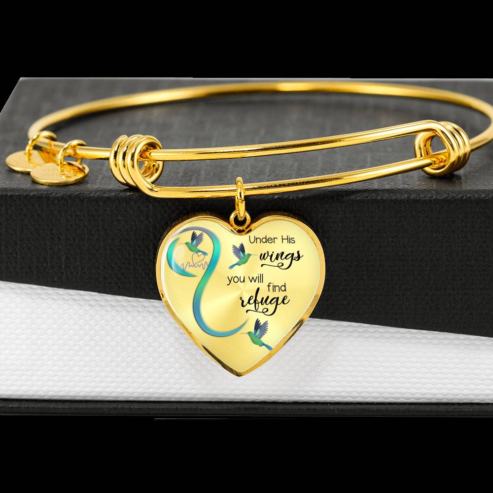 Customizable Hummingbird 'Under His Wings' Luxury Bangle