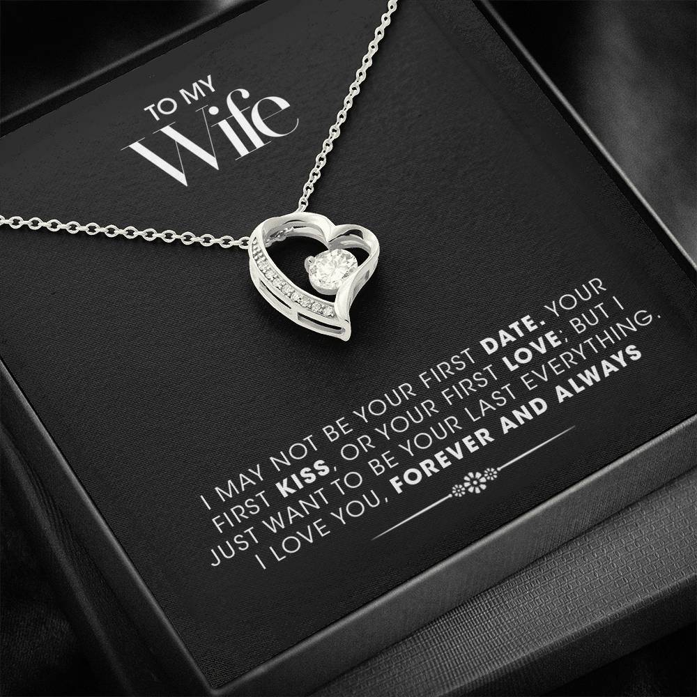 """To My Wife"" Cubic Zirconia Heart Pendant Gift Set"