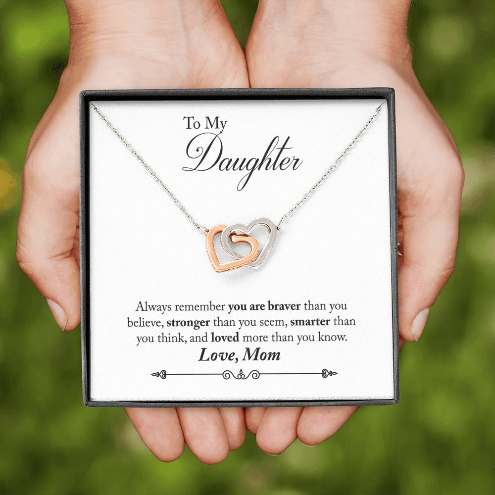 """To My Daughter, Love Mom"" Joined Hearts Pendant Necklace Gift Set"