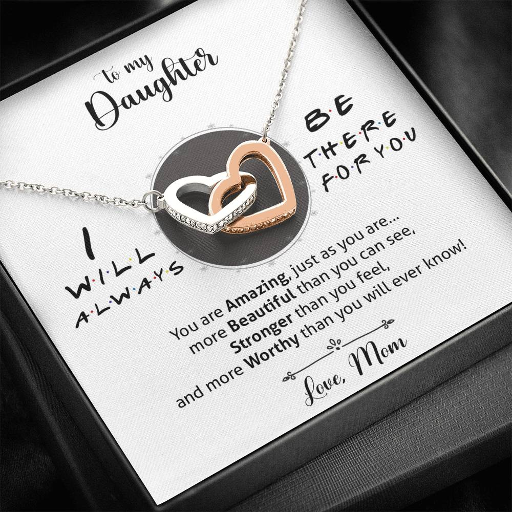 """Always There For You, Love Mom"" Interlocking Hearts Necklace Gift Set"