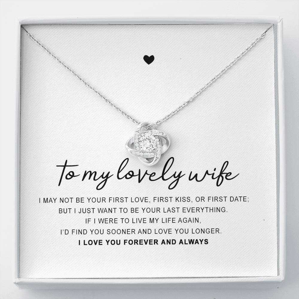 "14k White Gold ""To My Wife"" Luxury Necklace Gift Set"
