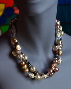 Two large strands of elegant bronze pearls