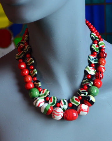 Red, White, Green African Porcelain Kazuri 2-strand Bead Necklace