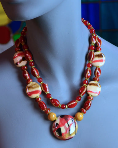 Chocolate, Cream, Red and White Porcelain 2-Strand Bead Necklace
