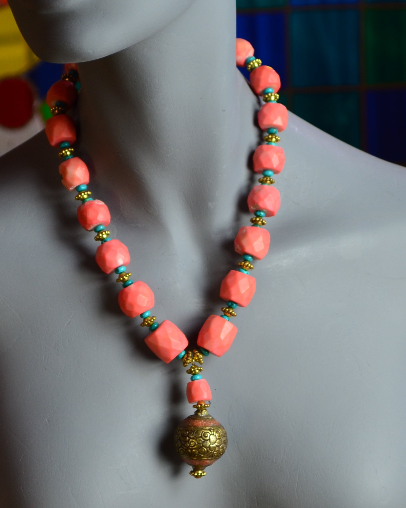 coral necklace, vintage, pendant,