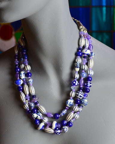 Three strands of calming blue and white porcelain and glass beads, just what you need at work on a busy Monday morning.