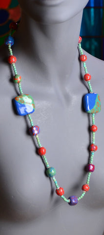 clay fired beads, colorful beads, kazuri bead necklace, kenyan beads, supporting women, birthday jewelry, blue beads,