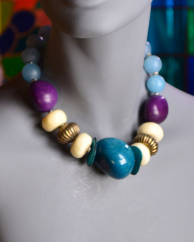 Blue and Purple Tagua Nuts, African Glass, White Bone, Silver Necklace