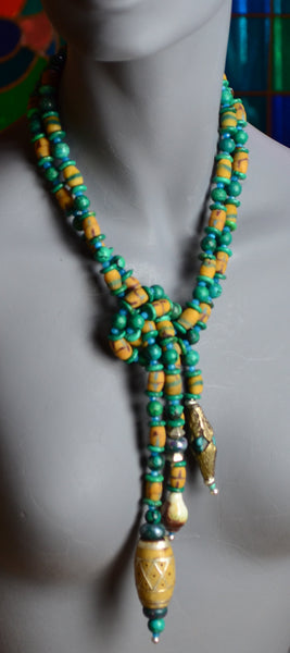 Yellow African Glass, Green Chrysocolla, Wood Bead Necklace