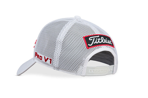 Titleist  Tour Performance Mesh Hat- white / dark red