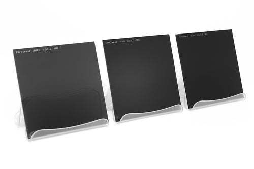 Three Formatt Hitech IRND filters lined up according to density or strength