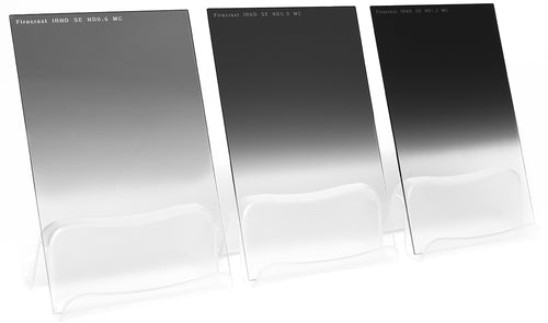 Three Formatt Hitech Graduated IRND filters lined up according to desnity strength