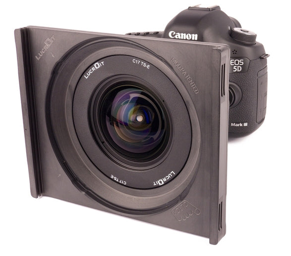 An image on a Lucroit filter holder system attached to the front of a DSLR style camera and lens