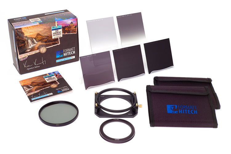 The Formatt Ken Kaminesky Signature Edition Master Filter Kit including 6 filters and filter holder system includind circular polarizer