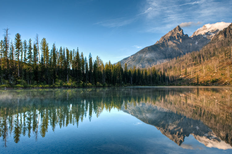 an image of a lake with a forest behind it to the left and rocky mountains framing it to the right. There are several whispy clouds in the sky