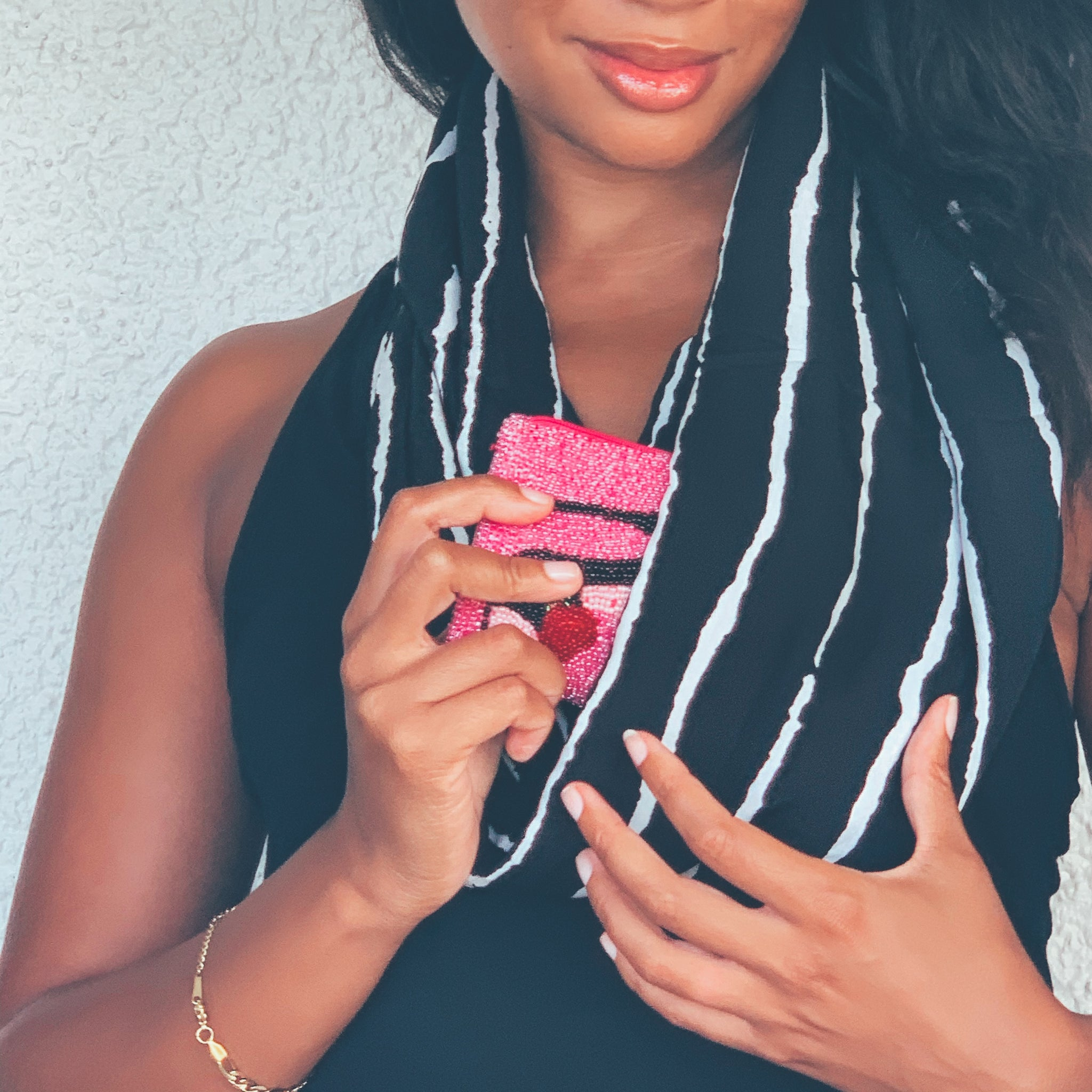Hidden Pocket Scarf in Black & White Stripe