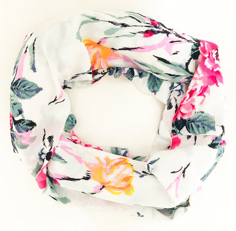 Hidden Pocket Scarf in White Floral