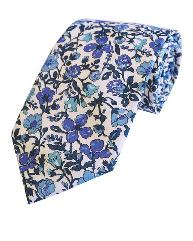 Sky Blue floral Tie and Matching Hankie