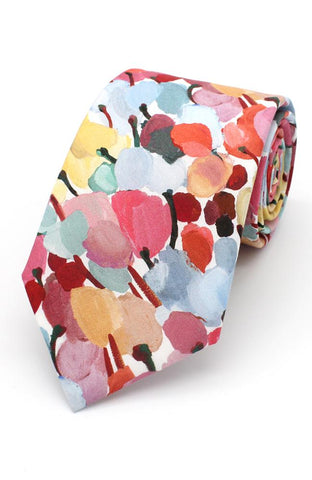Multi color floral Tie and Matching Hankie