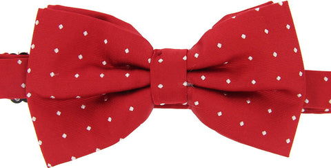 White Pin Dot Red Bow Tie