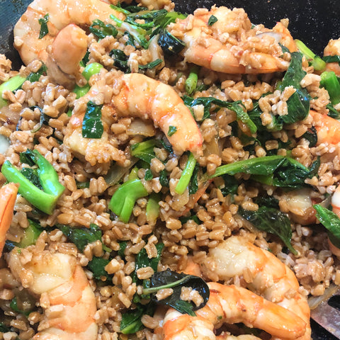 Lemongrass shrimp, thai basil, and gai lan with fried farro