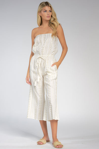Venus White and Silver Jumpsuit