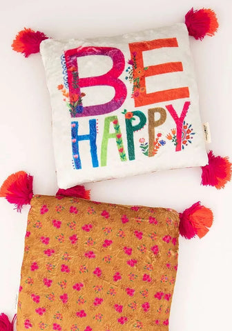 Be Happy Cozy Pillow
