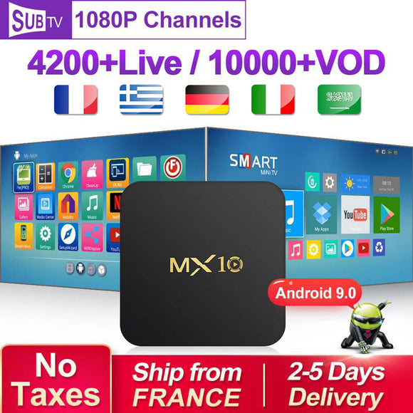 Full HD France Box with 1 Year SUBTV Code MX10 RK3328 Android 9.0 Subscription Netherlands Arabic French Belgium