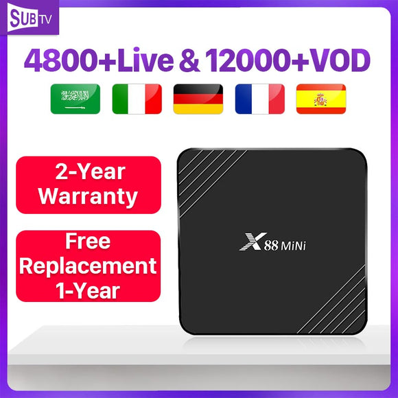 Spain 4K France Italy Android 9.0 X88Mini Intelligence set-top box with SUBTV 1 Year Code 2G 16G Belgium Portugal box