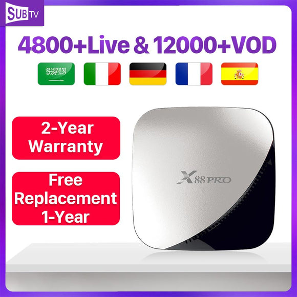 SUBTV France Spain 4K Live X88Pro Android 9.0  X88Pro Dual-Band wifi Subscription Arabic Italy Turkey box
