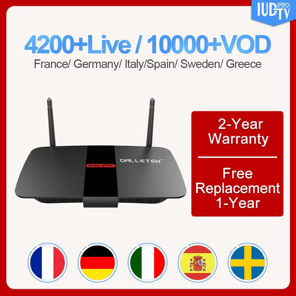 Leadcool R1 Sweden Android 8.1 smart tv box with 1 Year IUDTV Code H.265 Spain Italy France Portugal