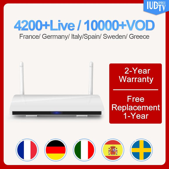 Italy Sweden Android 8.1 Smart box R6  with 1 Year IUDTV Code Subscription Germany UK Spain Holland Turkey