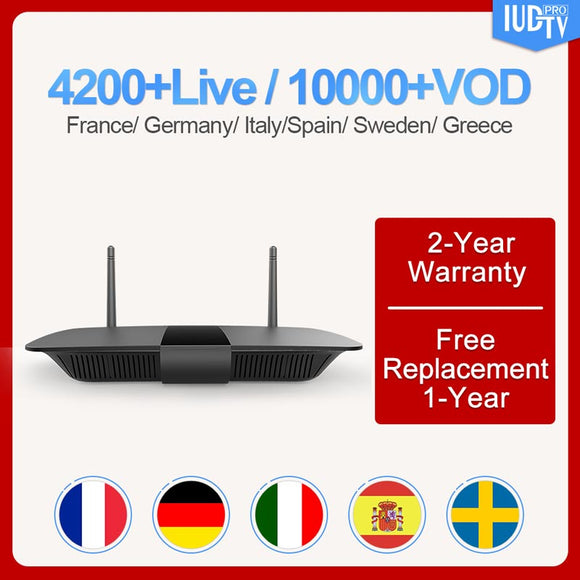 IUDTV Q1504 Italy Spain Android 8.1 Set top TV with 1 Year Code Subscription H.265 Sweden Germany Box