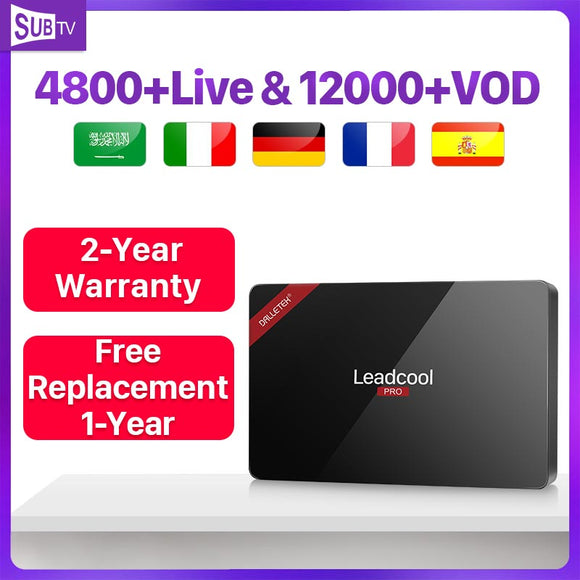 French Receiver Box Leadcool Pro Android 8.1 RK3229 4K 2.4GHz WiFi SUBTV 1 Year Italia Full HD Live  France Arabic