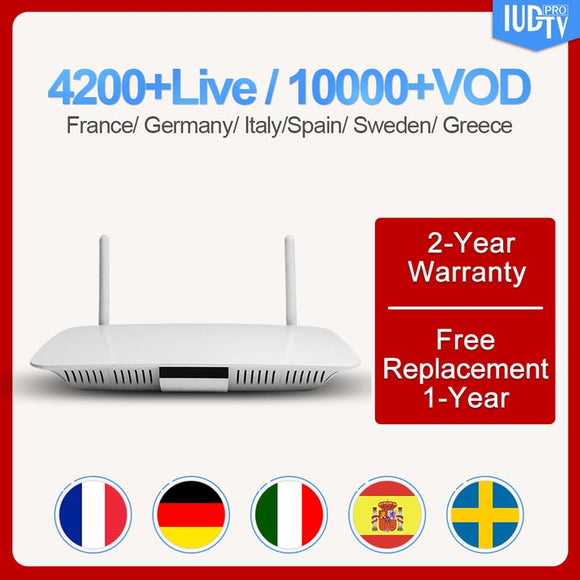 Q1404 Spain Italy Android set top box  Subscription IUDTV 1 year UK Arabic France Greece Portugal