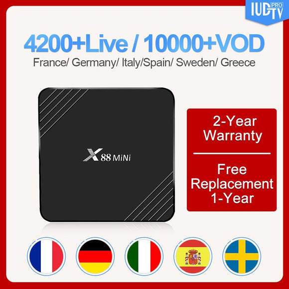 Android 9.0 X88Mini Sweden UK Subscription IUDTV 2G 16G RK3318 Quad-Core Arabic French Europe Italy Smart tv box