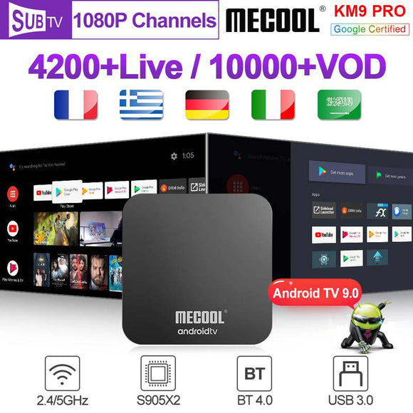 Italy Spain France 4K Android 9.0 KM9Pro S905X2 BT 4.0 Dual-Band Wifi SUBTV 1 Year Code Portugal Germany smart box