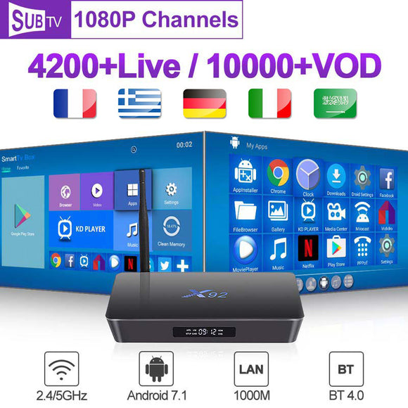 X92 France Box Smart 4K Full HD 2G+16G 3G+32G Europe Android 7.1 Subtv 1 Year Code Europe Arabic French Belgium Box